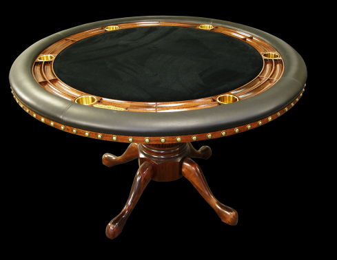 Luxury poker tables by Stine Game Tables a round poker table with black felt and green leather