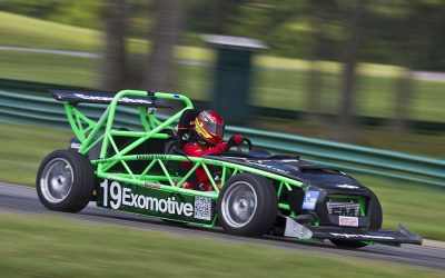 kit car by exomotive a green race car racing on a track
