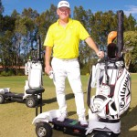 golf cart by Golf skate caddy features a man and the cart on a golf course with trees in the background