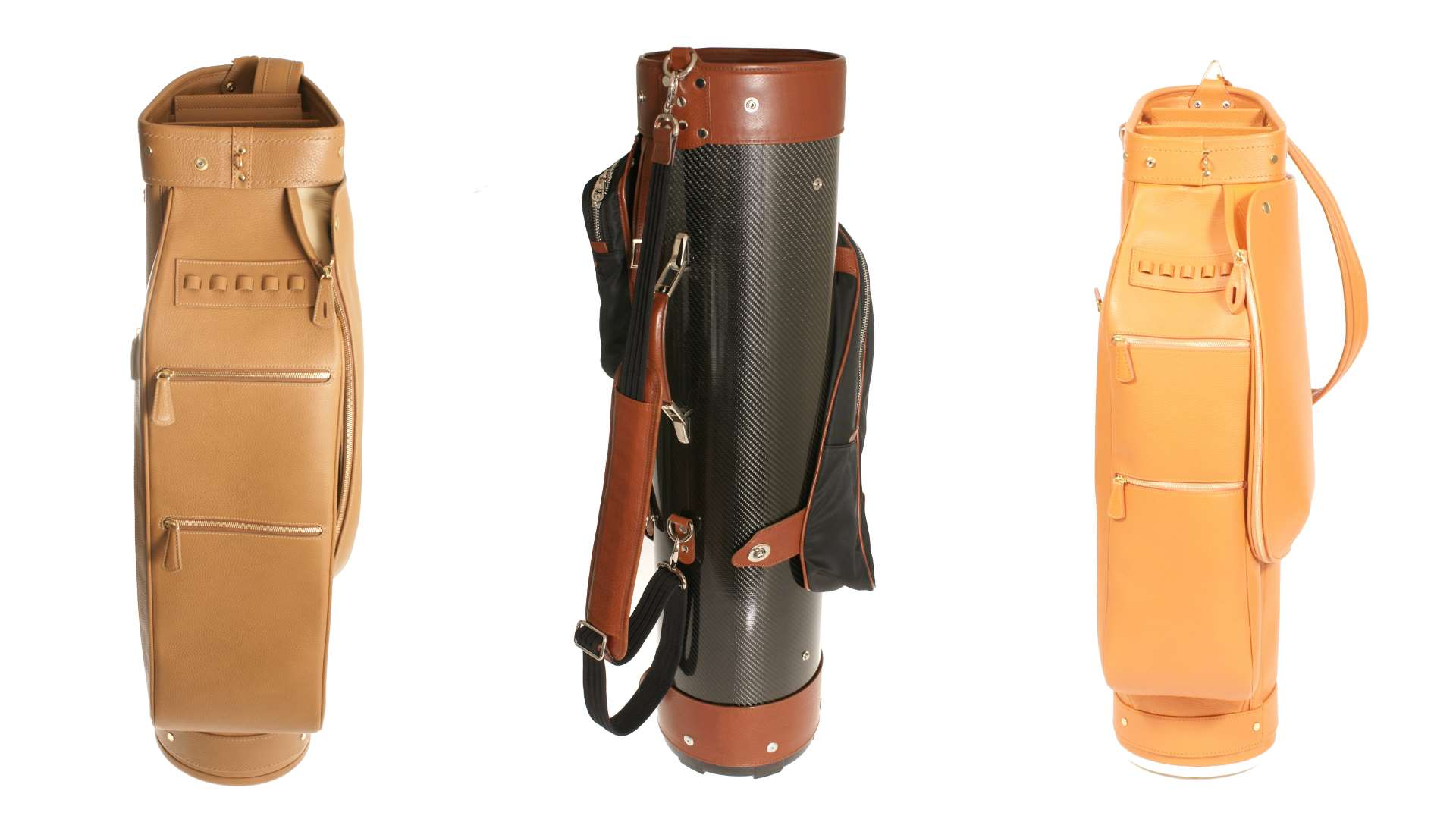 golf bags by Treccani Milano features three leather golf bags with a white background