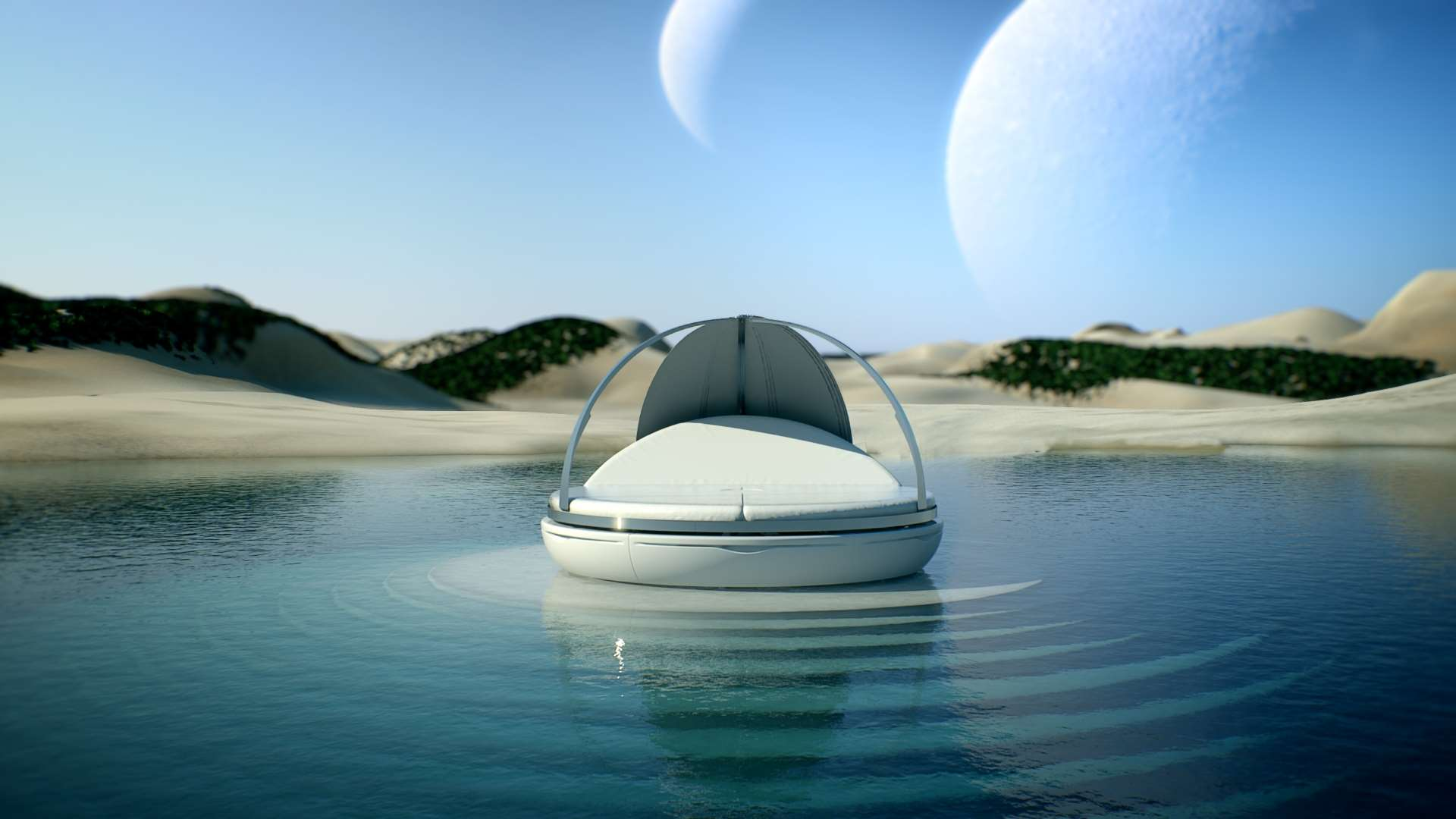 daybed by Fanstudio a daybed floating on a body of water
