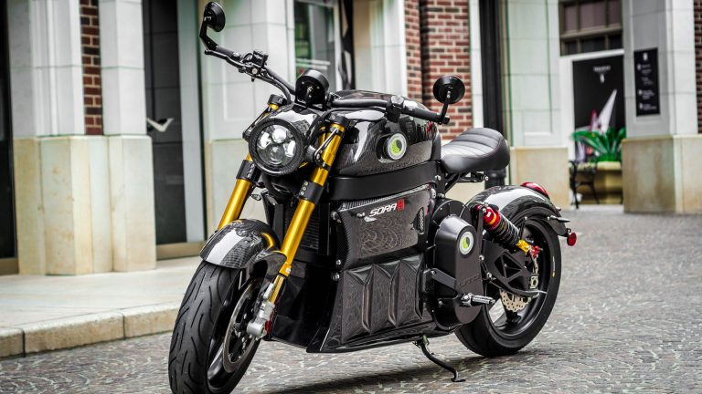 motorcycle by Sora electric superbike on a road