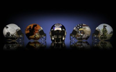 football Helmets by Armori Steele shows 5 helmets with a blue and black background