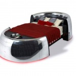 MotoArt Airplane Furniture featuring a bed with red blanket with white background
