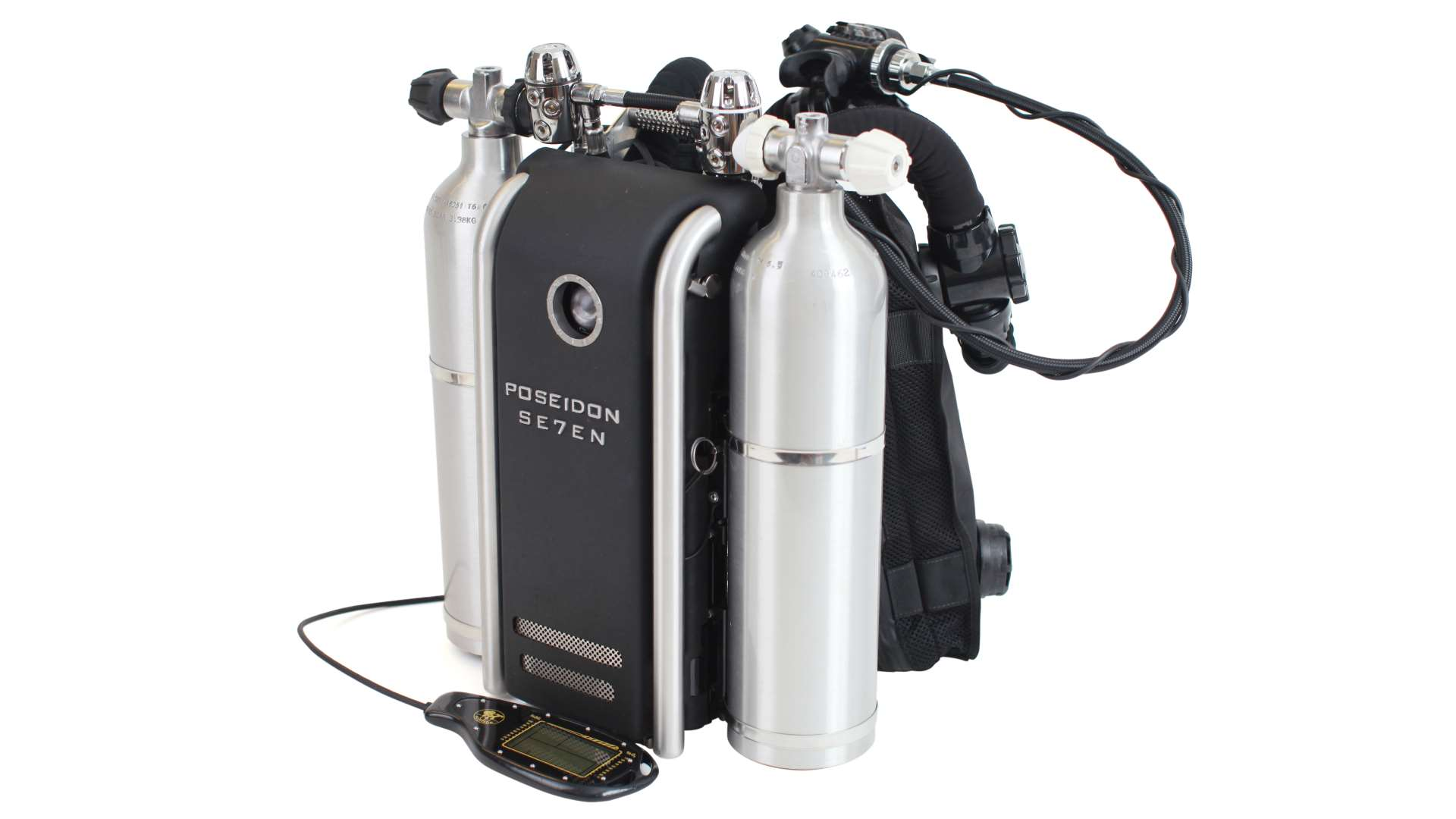 scuba diving by Poseidon SE7EN Rebreather with a white background