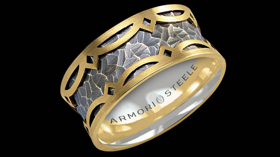 jewelry by armori steele a platinum ring with gold inlay