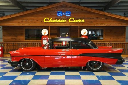 1957 Chevrolet 2 dr Post – Red / Black