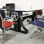 industrial furniture by bron design featuresw a crank conference table and chairs