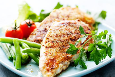 healthy diets showing chicken and vegetables