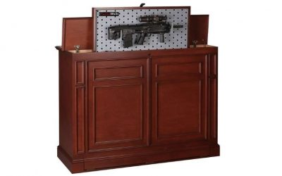 weapon concealment by Tactical Wall Units a gun about to be hidden in a piece of furniture