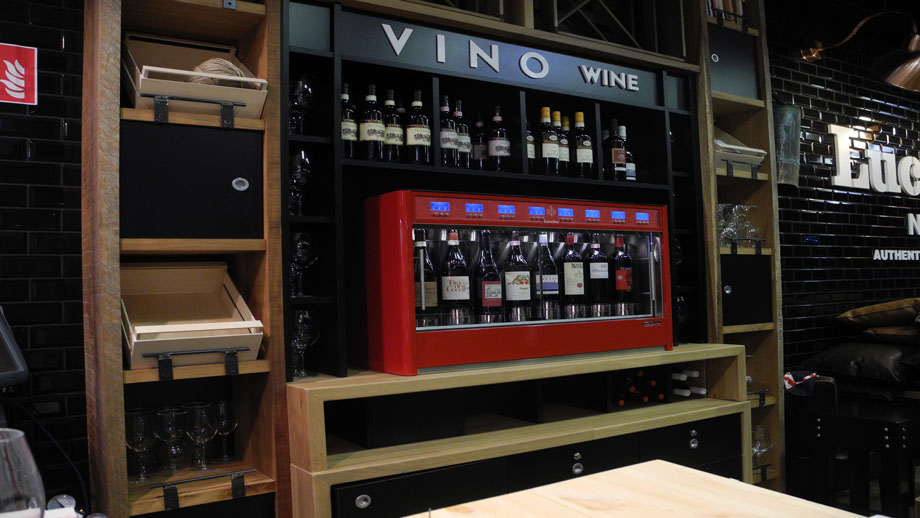 wine by wine emotion with a red dispensing unit in an upscale restaurant