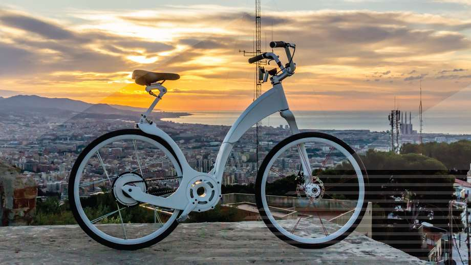 electric bike by GiFly bikes with a city back drop