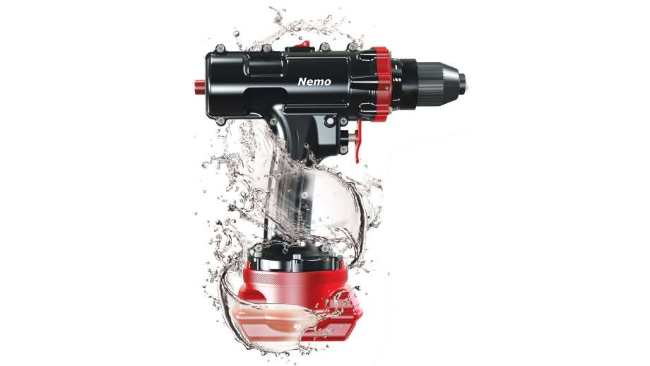 power tools by Nemo a drill engulfed in water with a white background