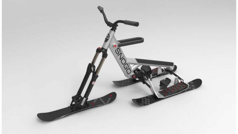 ski bike by SNOGO with a grey background