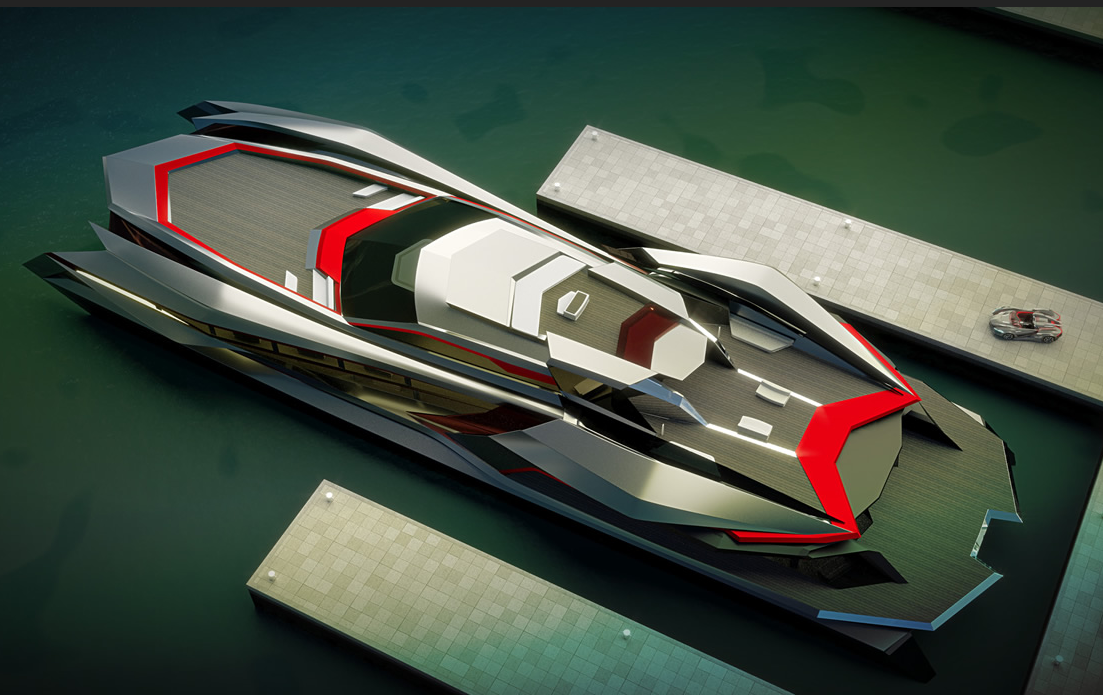 design by Gray Design a luxury yacht docked on a body of water