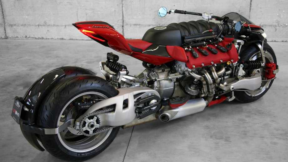 lazareth motorcycles by Lazareth a red supercharged motorcycle with a tile floor