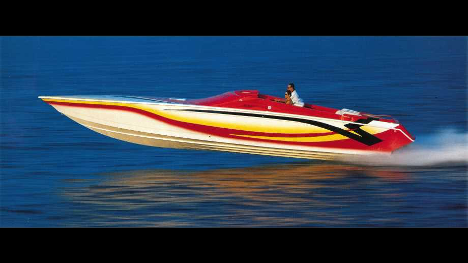 powerboats by Velocity racing above the water