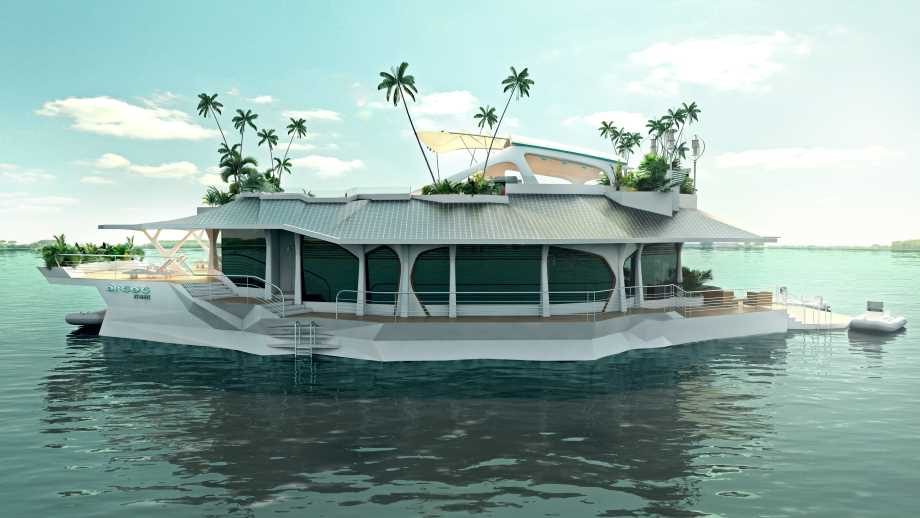 luxury island by Orsós Island floating on the water