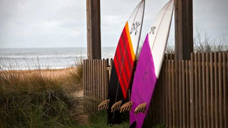 surfboards by Maria Riding Company two surfboards leaning on a fence at the ocean