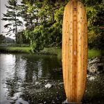 paddleboards by Tidal Roots showing s paddleboard standing up on the edge of a lake