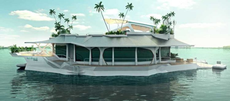 floating island by Orsos a luxury house boat floating in a body of water