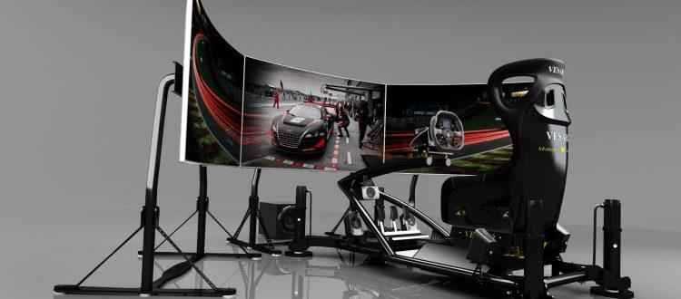 Simulators with virtual reality by Vesaro a racing simulator with gray walls