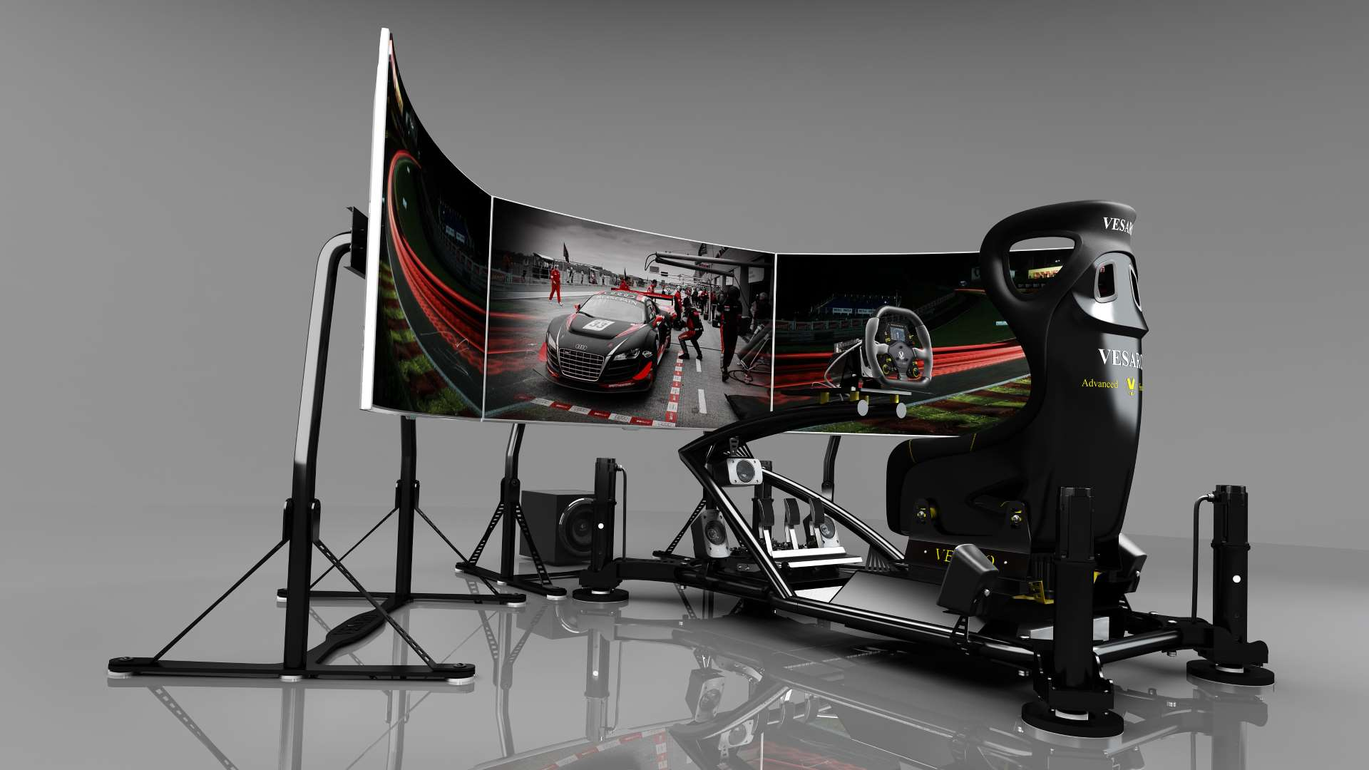 Simulators with virtual reality by Vesaro a racing simulator with gray walls