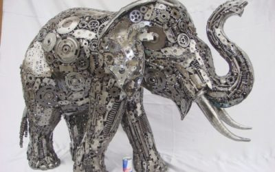 recycled art shows an elephant made from scrap metal
