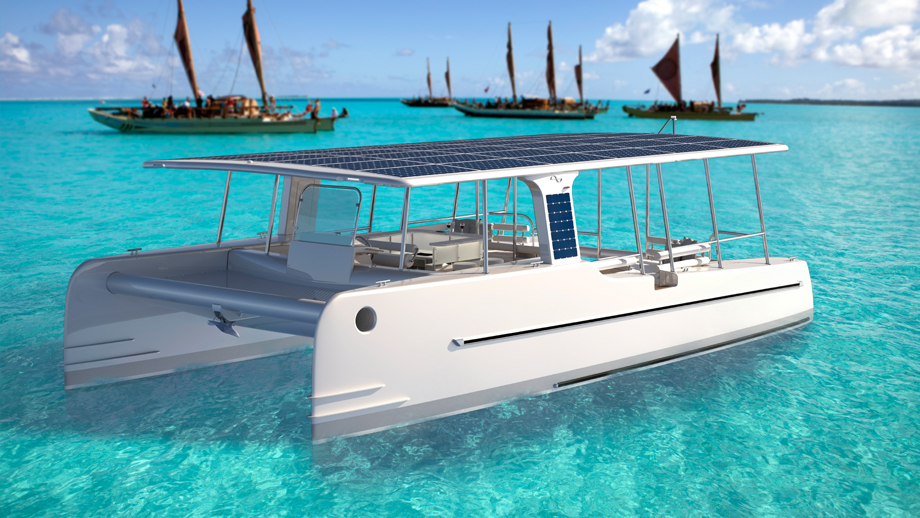 electric vessels on crystal blue water
