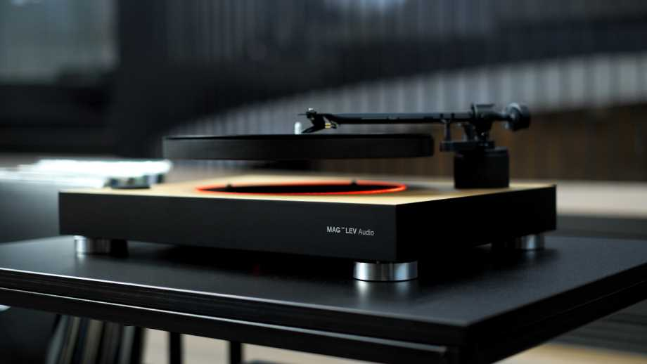 turntables by Mag-Lev shows a record being played on a levitating turntable