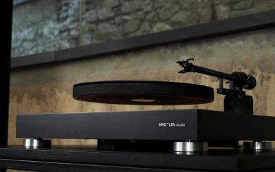 Maglev Audio Turntable shows a record levitating on a record player