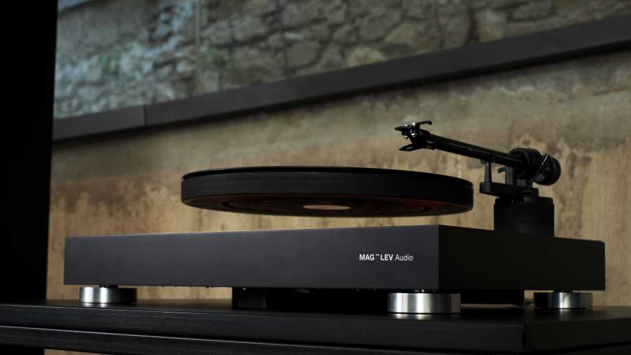 audio equipment by Maglev Audio shows a record levitating on a record player