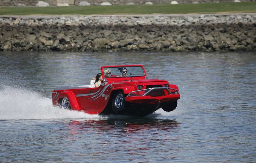 water car riding on top of the water in a lake