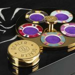 Poker accessories by Lancelot Lancaster White on a poker table