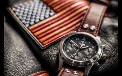De Pol Watches is a company with a US patch on a leather jacket
