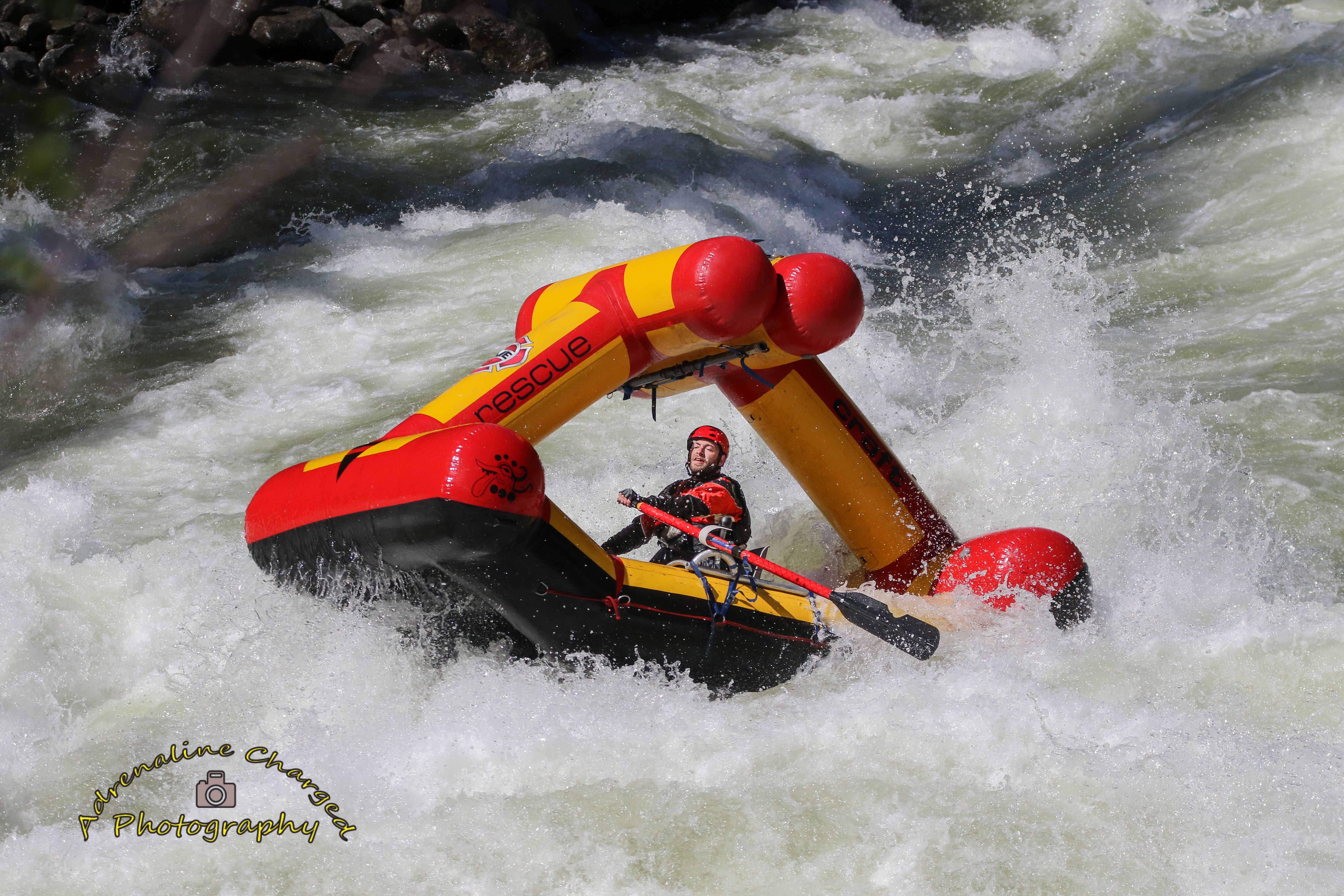 inflatables by Creature Craft going down rapids