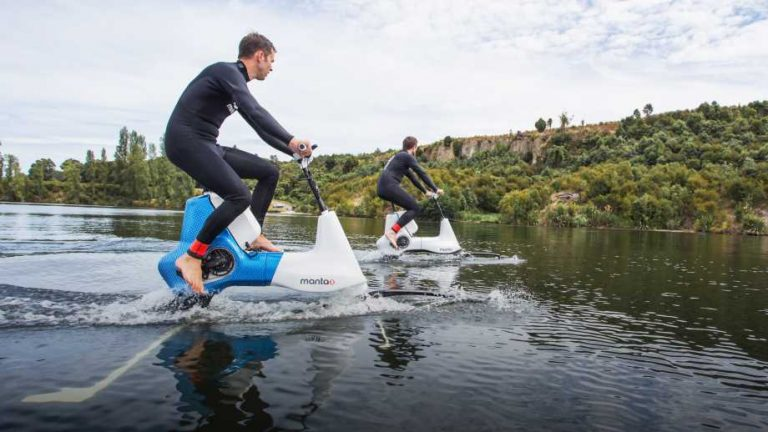 Manta5 Hydrofoil Outdoor Water Vehicle in a lake